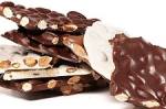 Li-Lac Chocolates' White Chocolate Almond Bark (surrounded by regular Chocolate Almond Bark)