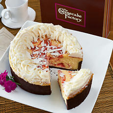 Available from Harry & David, the Cheesecake Factory's White Chocolate Raspberry Truffle Cheesecake