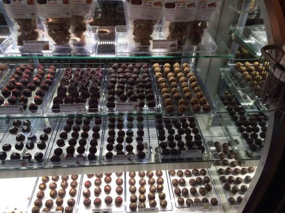 showcase with truffles